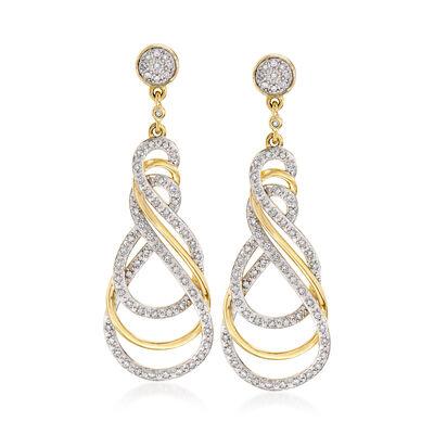 .33 ct. t.w. Diamond Swirl Drop Earrings in 18kt Gold Over Sterling, , default