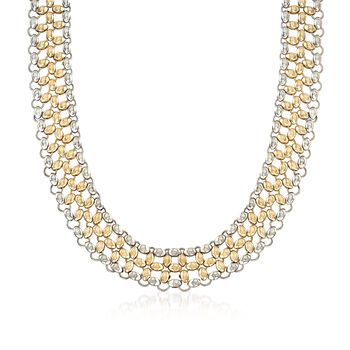 """C. 1990 Vintage 18kt Yellow Gold Open Link Bead Mesh-Style Necklace. 16"""", , default"""