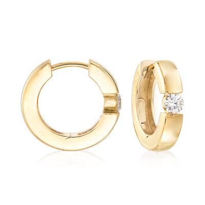 .25 ct. t.w. Diamond Hoop Earrings in 14kt Yellow Gold, , default