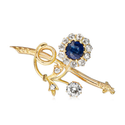 C. 1940 Vintage 1.13 ct. t.w. Diamond and 1.00 Carat Sapphire Flower Pin in 14kt Yellow Gold, , default