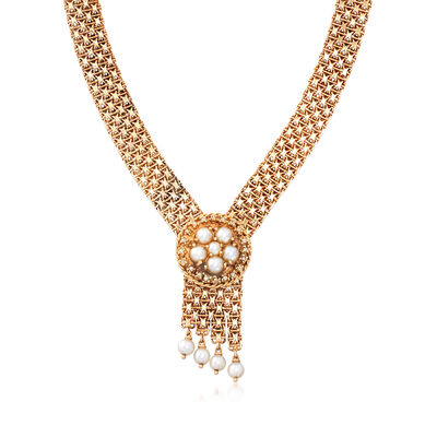 C. 1980 Vintage Cultured Pearl Mesh Necklace in 14kt Yellow Gold, , default