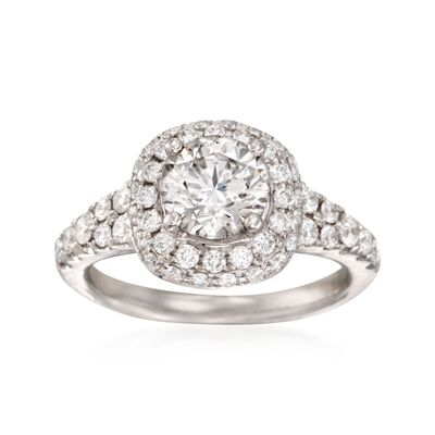2.09 ct. t.w. Certified Diamond Halo Engagement Ring in 18kt White Gold