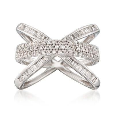 .98 ct. t.w. Diamond Crisscross Ring in 14kt White Gold, , default