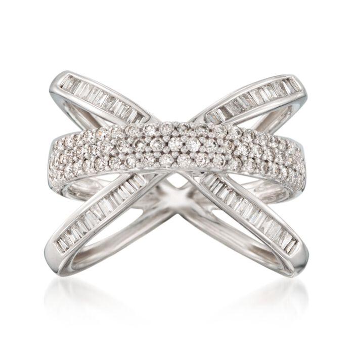 .98 ct. t.w. Diamond Crisscross Ring in 14kt White Gold. Size 5, , default
