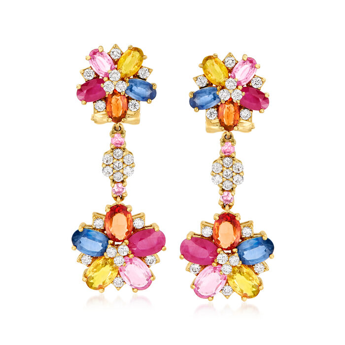 6.90 ct. t.w. Multicolored Sapphire, 1.70 ct. t.w. Ruby and .84 ct. t.w. Diamond Floral Drop Earrings in 18kt Yellow Gold, , default