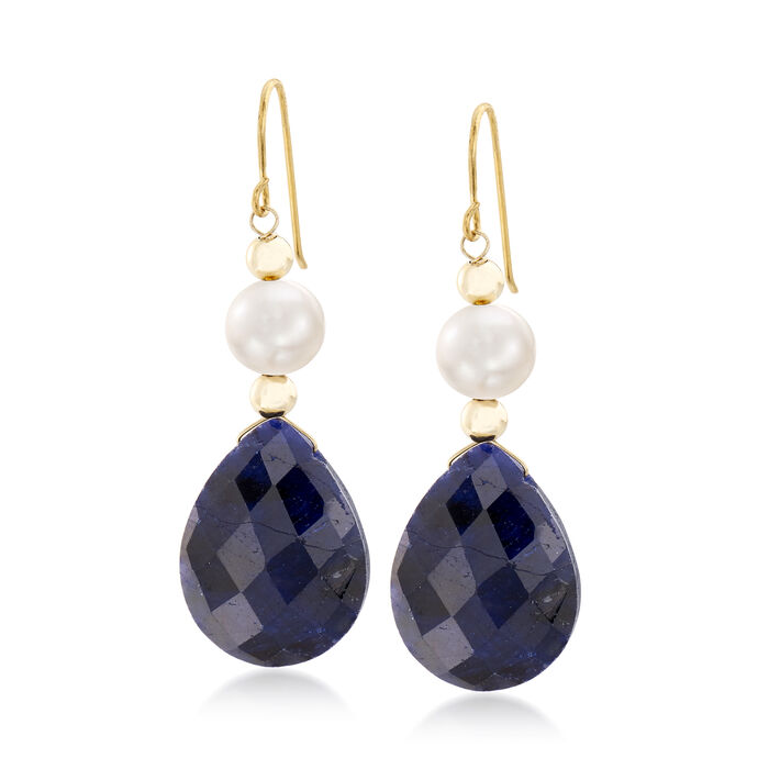 20.00 ct. t.w. Sapphire and Cultured Pearl Earrings in 14kt Yellow Gold, , default