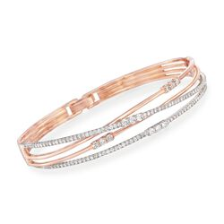 Simon G. 1.51 ct. t.w. Diamond Cross Over Bangle in 18kt Rose Gold, , default