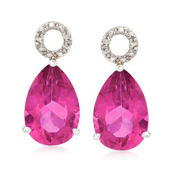6.50 ct. t.w. Pink Topaz Pear-Shaped Earring Charms in Sterling Silver, , default