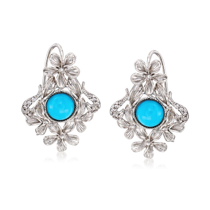 Italian Turquoise and .20 ct. t.w. CZ Flower Drop Earrings in Sterling Silver