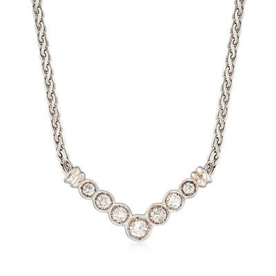 C. 1990 Vintage 1.00 ct. t.w. Diamond V-Shaped Necklace in 18kt White Gold , , default