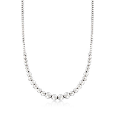 Italian 4-10mm Sterling Silver Graduated Bead Necklace, , default