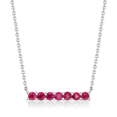 .80 ct. t.w. Ruby Bar Necklace in Sterling Silver, , default
