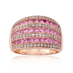 C. 1990 Vintage 4.00 ct. t.w. Pink Sapphire and .50 ct. t.w. Diamond Multi-Row Ring in 14kt Rose Gold, , default