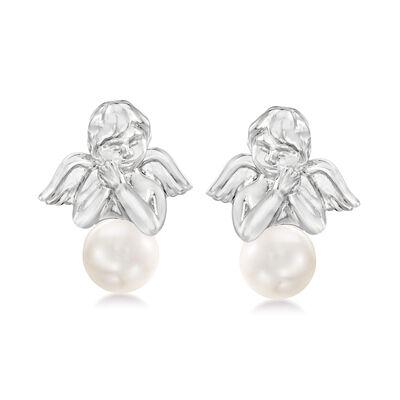 8-8.5mm Cultured Pearl Angel Earrings in Sterling Silver
