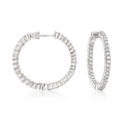 Gabriel Designs 1.05 ct. t.w. Diamond Inside-Outside Hoop Earrings in 14kt White Gold