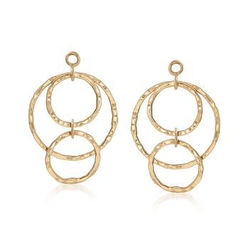 14kt Yellow Gold Hammered Multi-Circle Drop Earring Jackets, , default