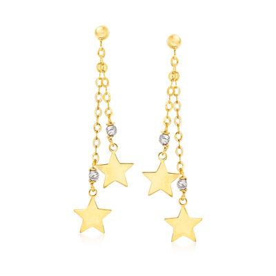 Italian 14kt Two-Tone Gold Star Drop Earrings