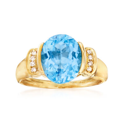 4.40 Carat Blue Topaz Ring with Diamond Accents in 14kt Yellow Gold