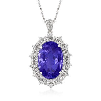 25.00 Carat Tanzanite and 1.56 ct. t.w. Diamond Pendant Necklace in 18kt White Gold, , default