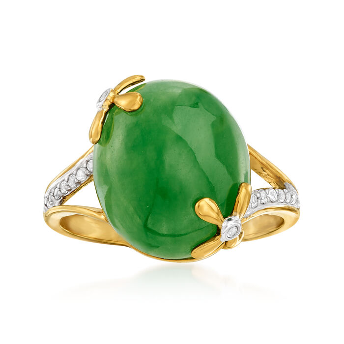 Green Jade and .10 ct. t.w. White Topaz Ring in 18kt Gold Over Sterling