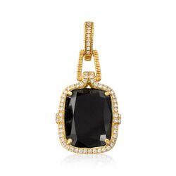 "Judith Ripka ""Arianna"" Black Onyx and .49 ct. t.w. Diamond Pendant in 18kt Yellow Gold, , default"