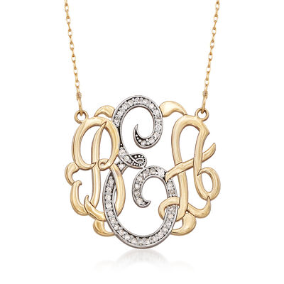 .20 ct. t.w. Diamond Monogram Necklace in 14kt Yellow Gold, , default