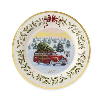 Lenox 2017 Annual Porcelain Christmas Plate With Gold Accent - 27th Edition , , default