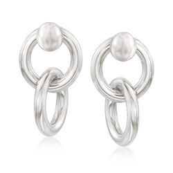 Italian Sterling Silver Double-Link Front-Back Earrings, , default
