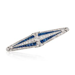 C. 1920 Vintage Marcus & Co. 4.00 ct. t.w. Sapphire and 3.55 ct. t.w. Diamond Bar Pin in Platinum , , default