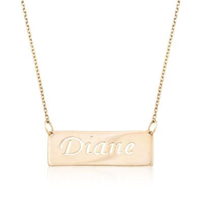24kt Gold Over Sterling Silver Openwork Name Bar Necklace, , default