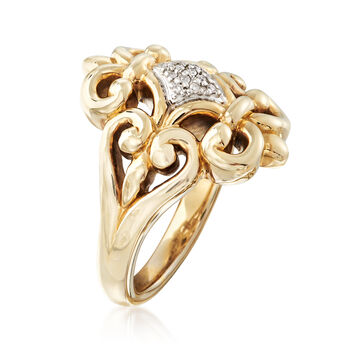 Fleur-De-Lis Ring with Diamond Accents in 14kt Yellow Gold. Size 8