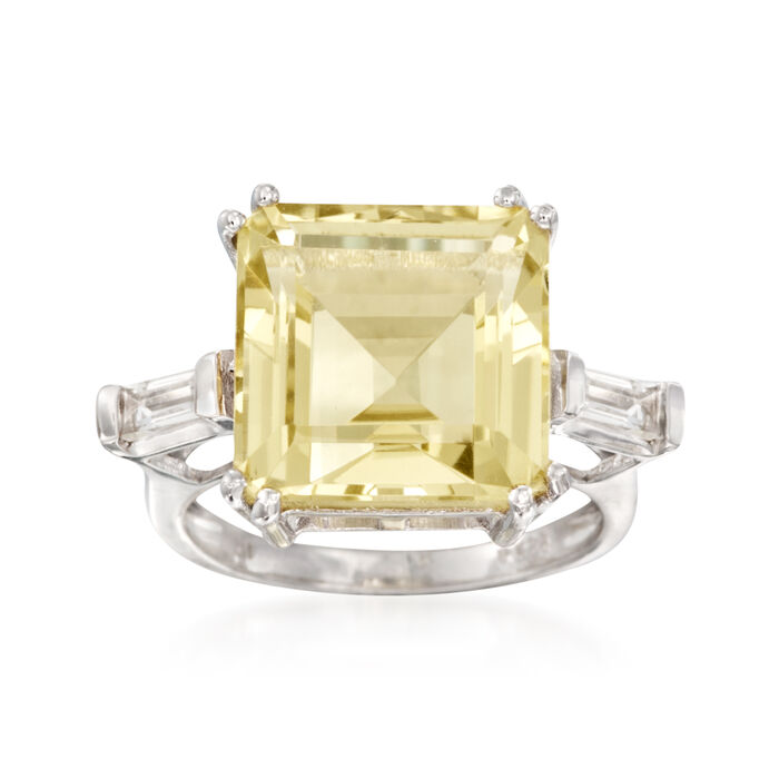 10.60 ct. t.w. Lemon and White Topaz Ring in Sterling Silver