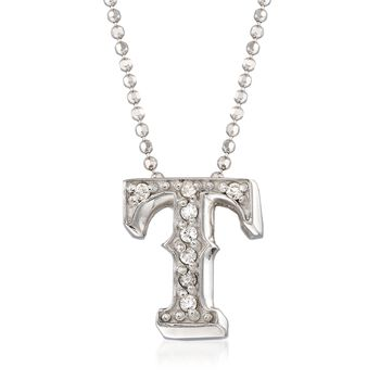 """C. 2000 Vintage Alex Woo """"Mlb Texas Rangers"""" Diamond-Accented Necklace in 14kt White Gold. 16"""", , default"""