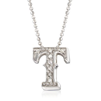 "C. 2000 Vintage Alex Woo ""MLB Texas Rangers"" Diamond-Accented Necklace in 14kt White Gold, , default"