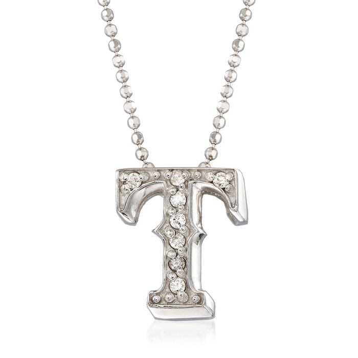 "C. 2000 Vintage Alex Woo ""MLB Texas Rangers"" Diamond-Accented Necklace in 14kt White Gold. 16"", , default"