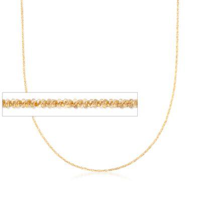 Italian 1mm 14kt Yellow Gold Adjustable Slider Crisscross Chain Necklace, , default