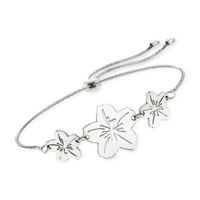 Sterling Silver Cherry Blossom Bolo Bracelet