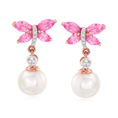 7-7.5mm Cultured Pearl and 1.00 ct. t.w. Pink Sapphire Butterfly Drop Earrings with Diamond Accents in 14kt Rose Gold, , default