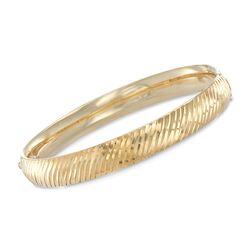 """14kt Gold Over Sterling Silver Diagonal Stripe Bangle Bracelet. 7.5"""", , default"""