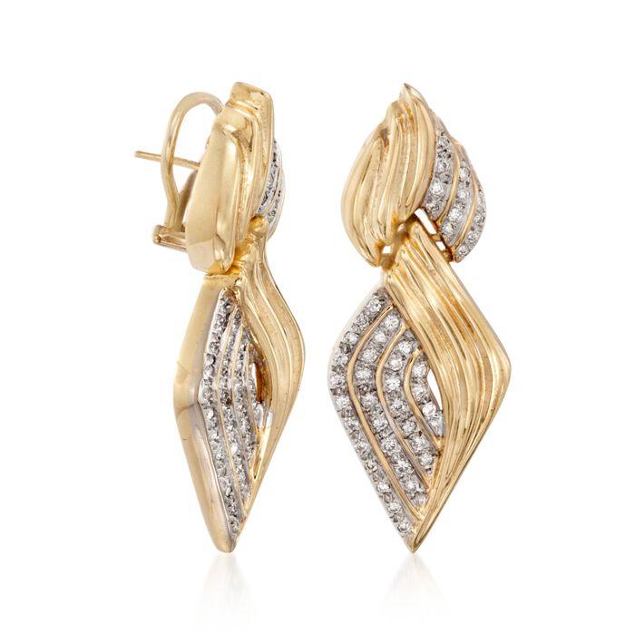 C. 1980 Vintage 1.35 ct. t.w. Diamond Curve Drop Earrings in 14kt Yellow Gold