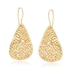14kt Yellow Gold Filigree Teardrop Drop Earrings , , default