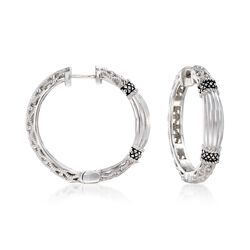 "Andrea Candela ""La Corona"" Sterling Silver Textured Hoop Earrings. 1"", , default"