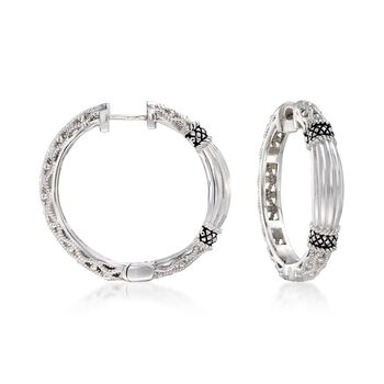 "Andrea Candela ""La Corona"" Sterling Silver Textured Hoop Earrings. 1"", , default"