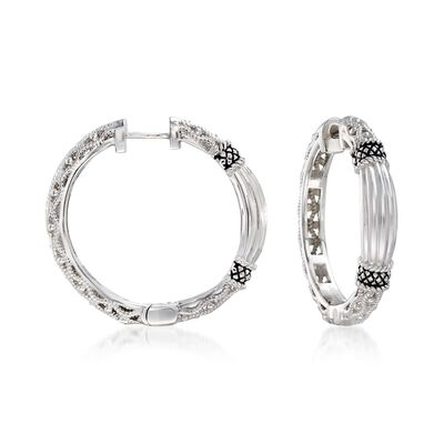 "Andrea Candela ""La Corona"" Sterling Silver Textured Hoop Earrings, , default"