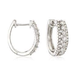 1.00 ct. t.w. Diamond Three-Row Hoop Earrings in 14kt White Gold, , default
