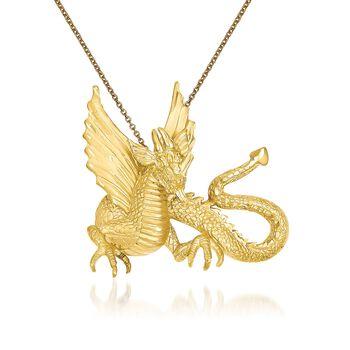 "14kt Yellow Gold Dragon Pendant Necklace. 18"", , default"