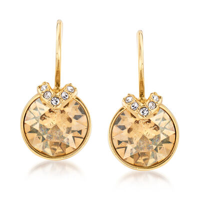 "Swarovski Crystal ""Bella"" Golden Crystal V-Shape Earrings in Gold Plate, , default"