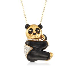 "C. 1980 Vintage Black Onyx and .40 ct. t.w. Diamond Panda Bear Pin Slide-Pendant Necklace in 14kt and 18kt Gold. 18"", , default"