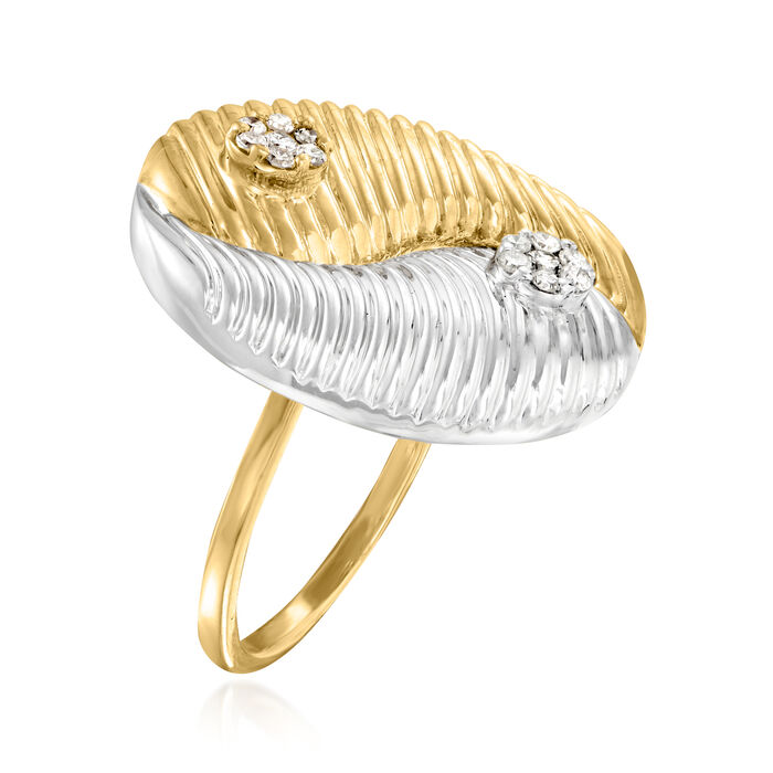 .20 ct. t.w. Diamond Yin Yang Ring in Sterling Silver and 18kt Gold Over Sterling