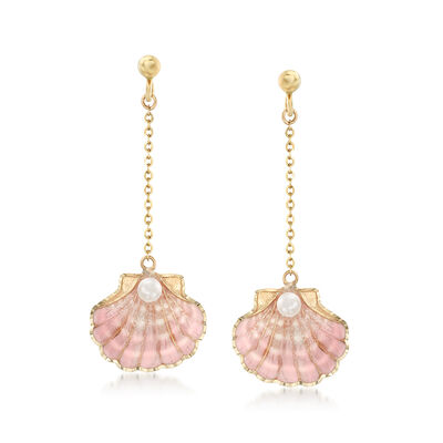 3mm Cultured Pearl and Pink Enamel Seashell Drop Earrings in 14kt Yellow Gold, , default